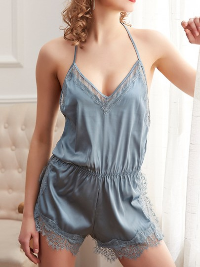 Grey Patchwork Lace Backless Short Jumpsuit Night Romper