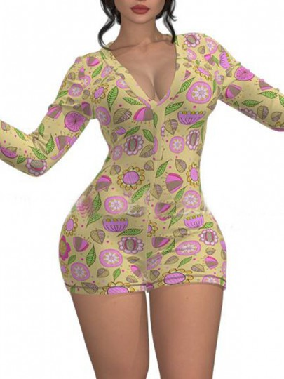 Yellow Floral Pattern Single Breasted Deep V-neck One Piece Pajama Nightwear Night Romper