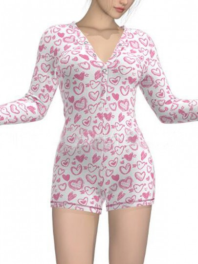 White-Pink Love Pattern Single Breasted Deep V-neck One Piece Pajama Nightwear Night Romper