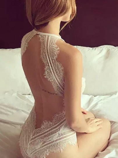 White Patchwork Lace Backless Collarless Sleeveless Fashion Lingerie