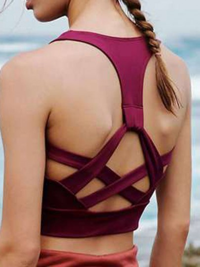 Wine Red Cut Out Full Cup Strapless Wire Free Padded Yoga Sport Bra