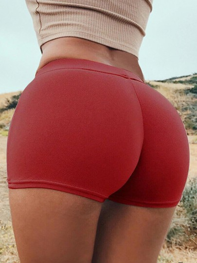 Red Patchwork Push Up Slim Elastic Waist High Waisted Fashion Lingerie Panties