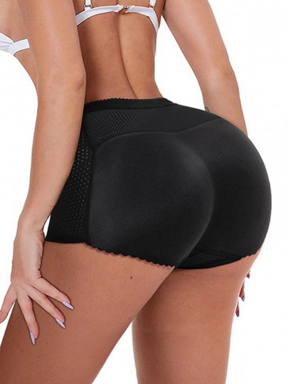 Black Patchwork High Waisted Push Up Big Booty Shorts Lingerie Panty