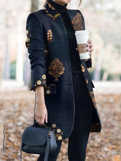 Black Floral Buttons Long Sleeve Going out Blazer