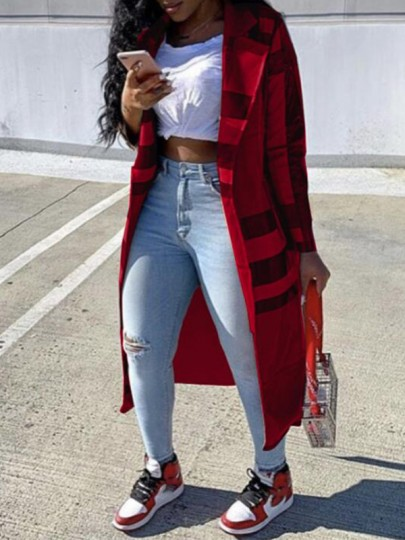 Red Plaid Buttons Turndown Collar Going out Trench Coat