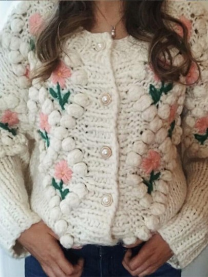 Apricot Flowers Buttons Round Neck Honey Girl Cardigan Sweater
