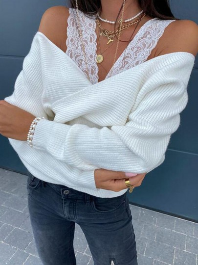 White Patchwork Lace Cross Cut Out Backless Casual Pullover Sweater