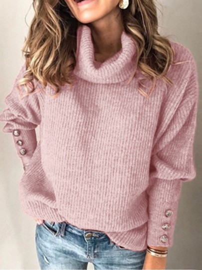 Pink Solid Color Buttons High Neck Fashion Sweaters Pullover