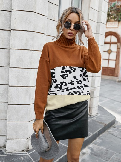 Caramel Patchwork Leopard High Neck Fashion Sweaters Pullover