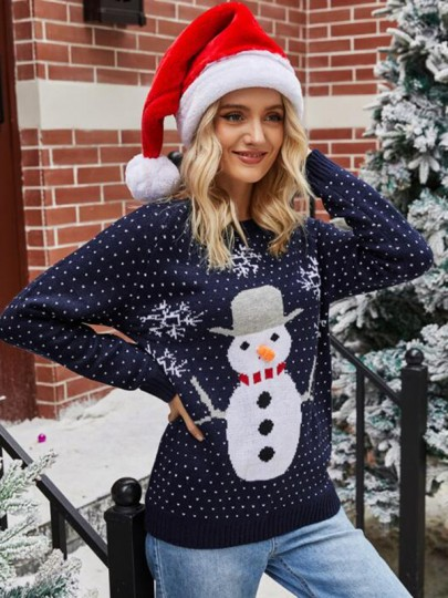 Navy Blue Floral Christmas Snowman Round Neck Fashion Sweater Pullover