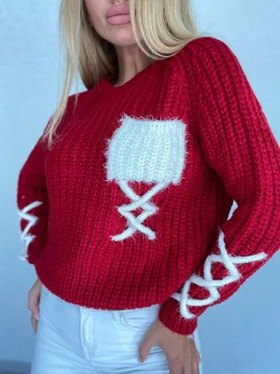 Red Patchwork Pockets Round Neck Long Sleeve Fashion Sweater Pullover