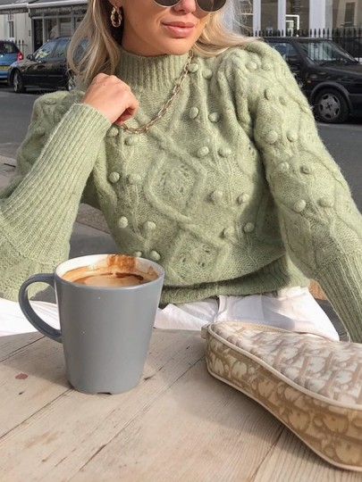 Green Patchwork Oversize Lantern Sleeve Going out Pullover Sweater