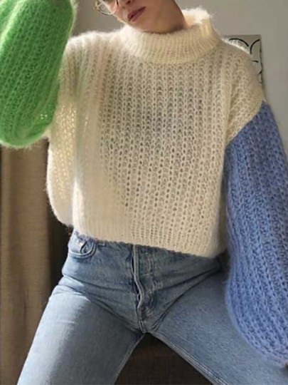White Color Block Oversize Lantern Sleeve Going out Pullover Sweater