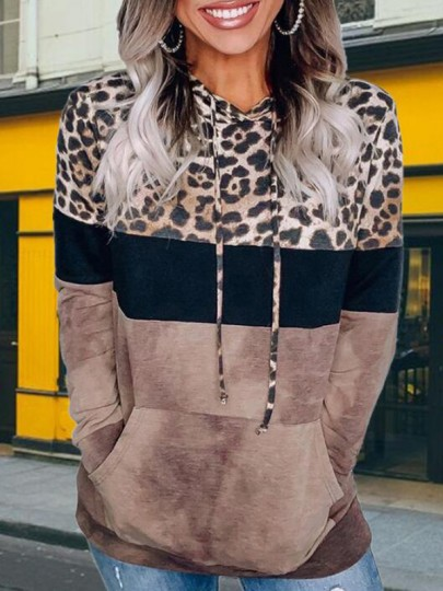 Brown Leopard Print Pockets Plus Size Hooded Casual Pullover Sweatshirt