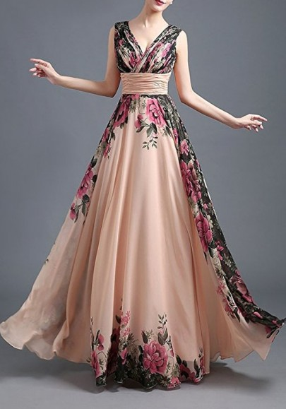 Champagne Floral Draped Plunging Neckline Elegant Tulle Wedding Gowns Prom Maxi Dress