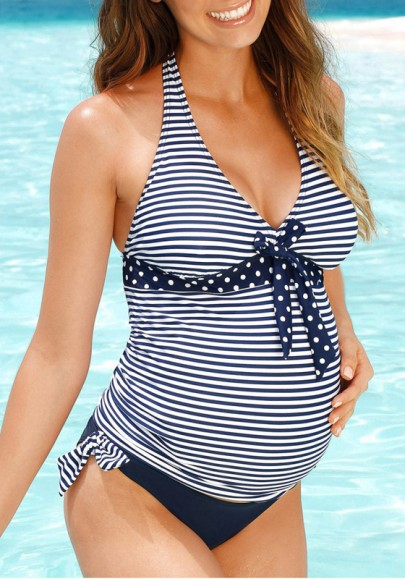 Blue-White Striped Bow 2-in-1 Two Piece Deep V-neck Maternity Swimwear