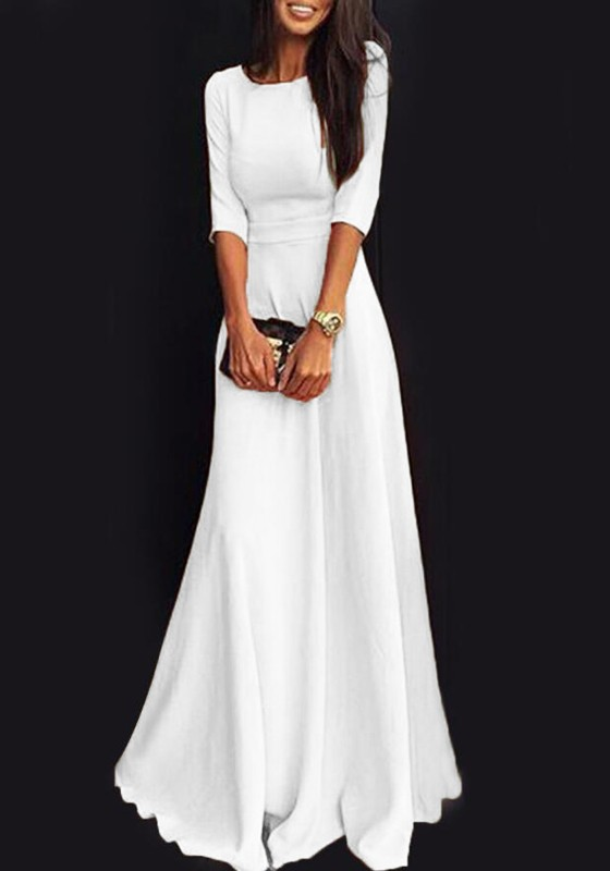White Plain Draped Round Neck Three Quarter Length Sleeve Elegant Maxi Dress Maxi Dresses Dresses
