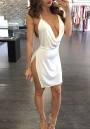 White Plain Side Slit Condole Belt Sexy Mini Dress