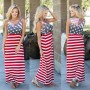 Red-White Striped Draped Backless Round Neck Sleeveless American Flag Maxi Dress