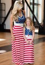Blue American Flag Draped Shoulder-Strap Plus Size Parent-Child Outfit High Waisted Casual Maxi Dress