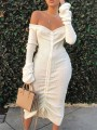 White Drawstring Off Shoulder Backless Bodycon Long Sleeve Elegant Party Maxi Dress