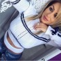 White Striped Cut Out Crop Round Neck Casual Pullover Sweater