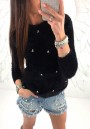 Black Pearl Round Neck Long Sleeve Fashion Pullover Sweater