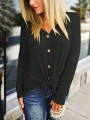 Black Buttons V-neck Long Sleeve Casual Pullover Sweater