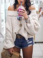 Apricot Cut Out Off Shoulder Long Sleeve Oversized Pullover Sweater