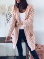 Pink Pockets Hooded Long Sleeve Oversize Cardigan Sweater