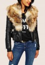 Black Zipper PU Leather Faux Fur Turndown Collar Casual Cardigan Coat