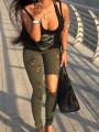 Army Green Cut Out Pockets Buttons Fashion Long Jeans Pant