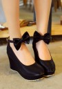 Black Round Toe Bow Casual Buckle Wedges Shoes