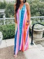 Blue Striped Print Pockets Backless Tie Dye Spaghetti Strap Chiffon Bohemian Maxi Dress