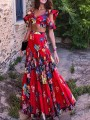 Red Floral Ruffle Deep V-neck Two Piece Flowy Bohemian Beach Holiday Maxi Dress