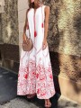 Red Floral Print V-neck Pockets Women Floor Length Prom Evening Party Maxi Dress