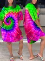 Green Tie Dyeing Sauce Rasta Pockets Round Neck Bohemian Beach Maxi Dress