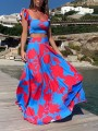 Red Color Block Pattern Two Piece Vintage Fashion Maxi Dress