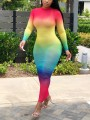 Red Tie Dyeing Rainbow Grenadine Sheer Bodycon Bohemian Party Maxi Dress