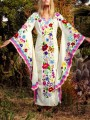 Pink Mexican Embroidered Print V-neck Flare Long Sleeve Double Slit Bohemian Maxi Dress