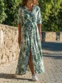 Green Floral Single Breasted Sashes V-neck Long Sleeve Maxi Dress