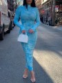 Blue Tie Dye Band Collar Long Sleeve Ruched Bodycon Maxi Dress With Gloves Thumb Holes