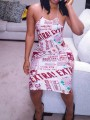 Red-White Monogram Newspaper Pattern Spaghetti Strap Cross Back Bodycon Midi Dress