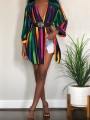 Green Rainbow Striped Single Breasted Turndown Collar Jamaica Rasta Multi Way Blouse Mini Dress