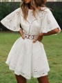 White Patchwork Lace Cut Out Backless Round Neck Short Sleeve Mini Dress
