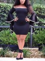Black Off Shoulder Bell Sleeve Bodycon Party Mini Dress