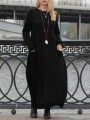 Black Patchwork Lace Round Neck Long Sleeve Fashion Sweater Dress