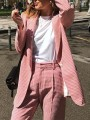 Pink Plaid Buttons Band Collar Long Sleeve Fashion Suits