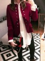 Red Patchwork Buttons Band Collar Long Sleeve Vintage Blazer