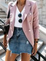 Pink Patchwork Buttons Pockets Elegant Notch Lapel Long Sleeve Fashion Suit